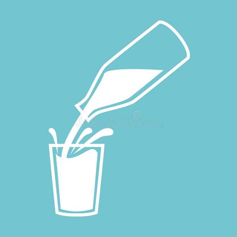 Símbolo o logotipo natural de la leche La leche que vierte de una botella con salpica en vidrio stock de ilustración