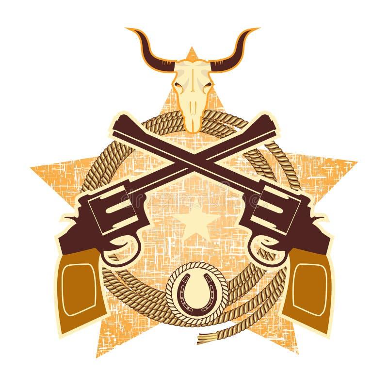 Símbolo occidental con los armas y el cráneo del toro ilustración del vector