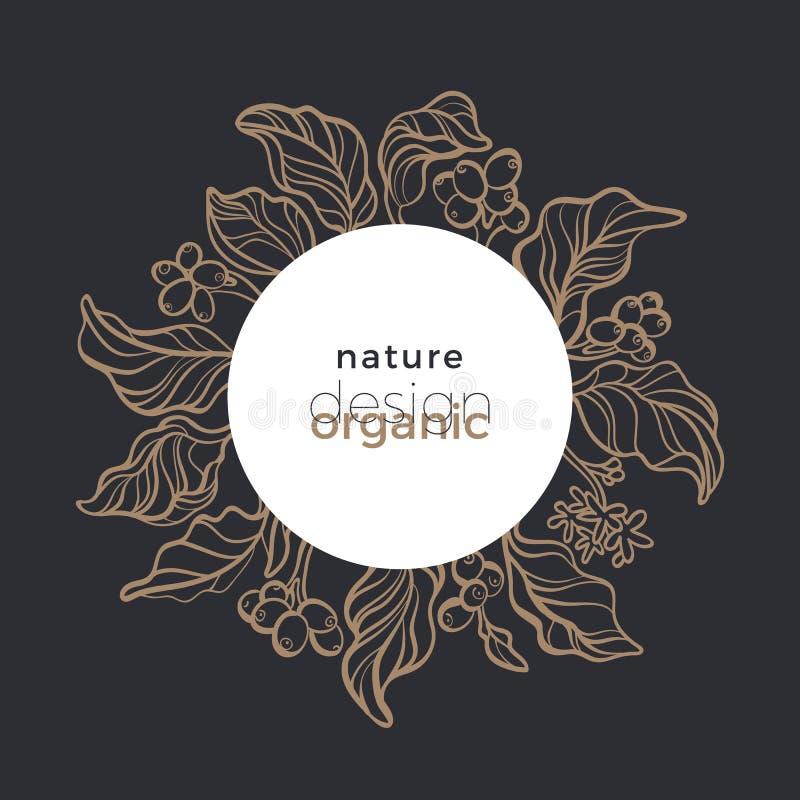 Símbolo orgánico del vector en círculo Diseño floral de la naturaleza bio Grano de café en fondo marrón Ramo gráfico libre illustration