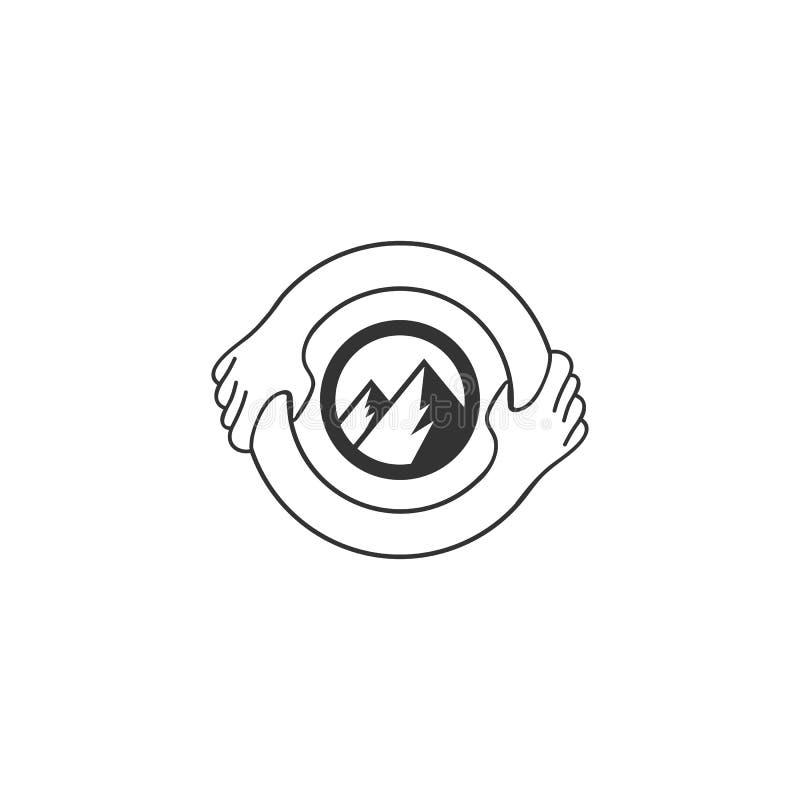 Símbolo ou Logo Template Agitação da mão incorporada no conceito da letra 0 Isolado, salvar a ideia da montanha ilustração stock