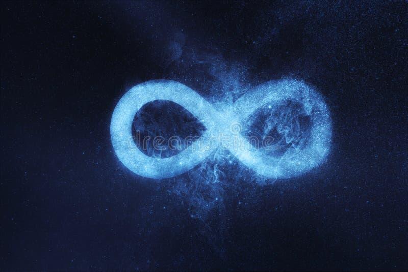 Símbolo ou sinal da infinidade Fundo abstrato do céu noturno imagens de stock royalty free
