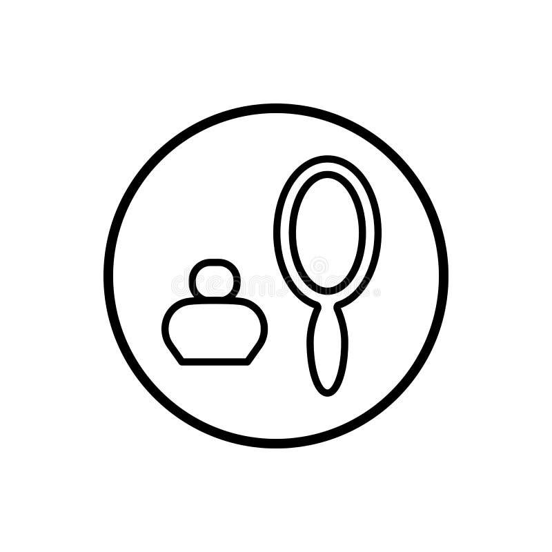 Símbolo para produtos da perfumaria e do cosmético, espelho e tubo de ensaio no círculo Vetor ilustração royalty free