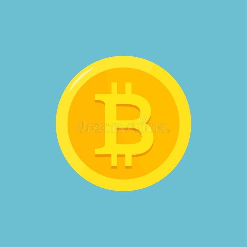 Símbolo plano de la cadena de bloque del cryptocurrency de Bitcoin en fondo geométrico azul Logotipo de Bitcoin Dinero virtual Il libre illustration