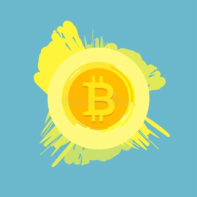 Símbolo plano del extracto de la cadena de bloque del cryptocurrency de Bitcoin en fondo geométrico azul Logotipo de Bitcoin Dine libre illustration