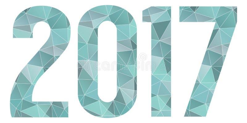 Símbolo poli azul do vetor do ano 2017 novo feliz baixo isolado ilustração royalty free
