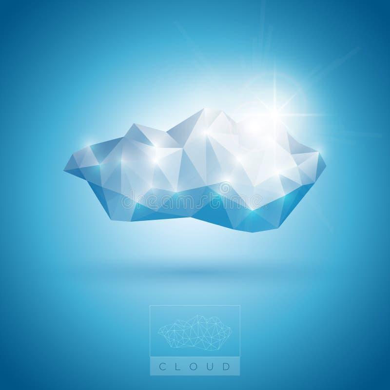 Símbolo poligonal da nuvem ilustração stock