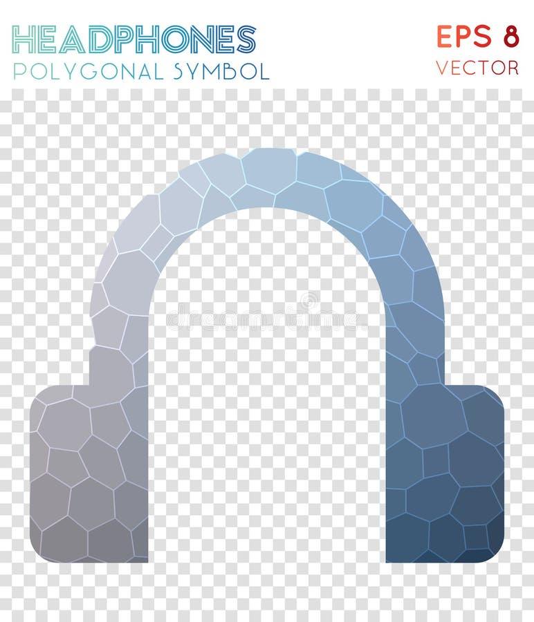Símbolo poligonal dos fones de ouvido ilustração stock