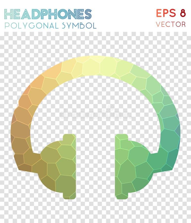 Símbolo poligonal dos fones de ouvido ilustração royalty free