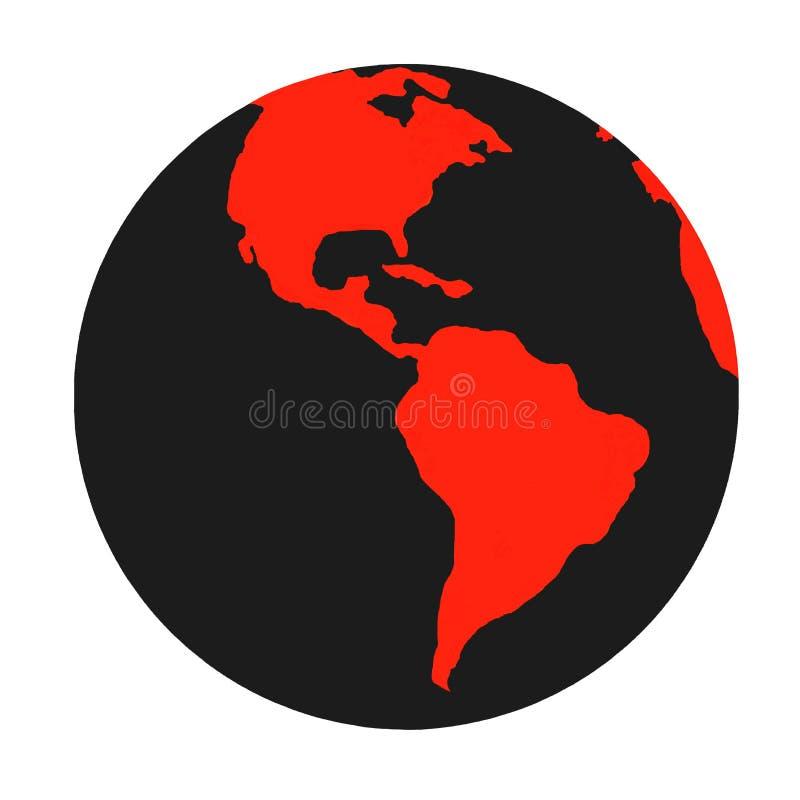 Símbolo preto & vermelho do planeta da terra ilustração stock