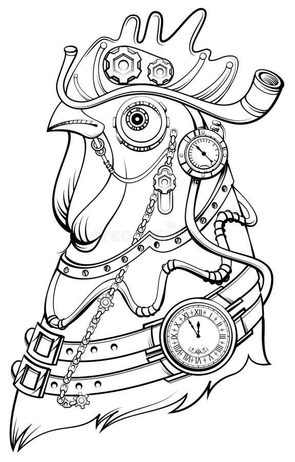 Símbolo principal del estilo del steampunk del gallo del tiempo Libro de colorante ilustración del vector