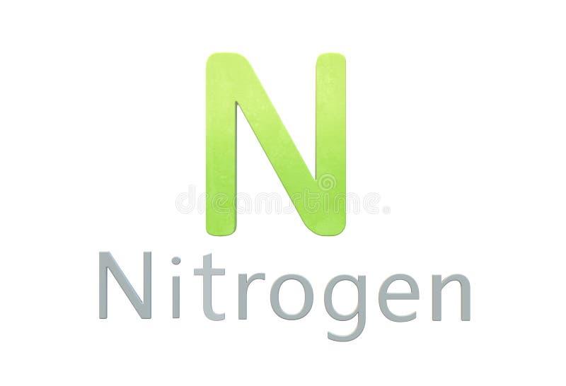 Símbolo químico do nitrogênio como na tabela periódica ilustração stock