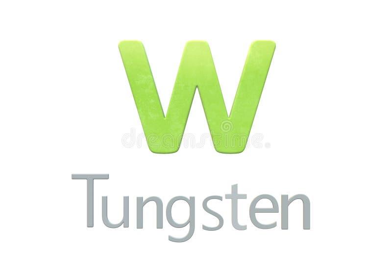 Símbolo químico do tungstênio como na tabela periódica ilustração stock