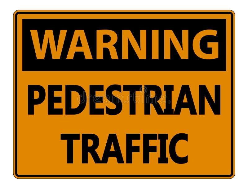 símbolo que adverte o sinal de tráfego pedestre no fundo branco ilustração stock