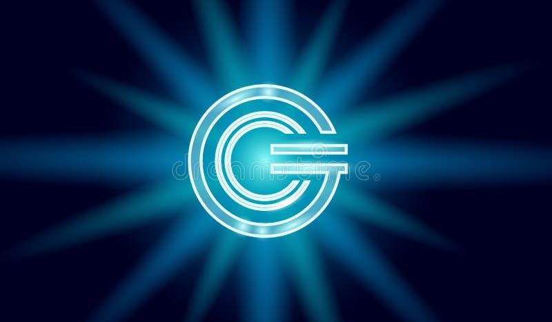 Símbolo que brilla intensamente geométrico del cryptocurrency de la moneda global de GCC 3d hacen actividades bancarias electróni libre illustration