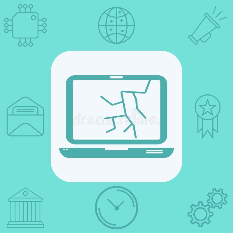 Símbolo quebrado de la muestra del icono del vector del ordenador portátil ilustración del vector