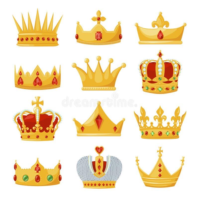 Símbolo real de las coronas sistema, de la monarquía y de la autoridad del oro libre illustration