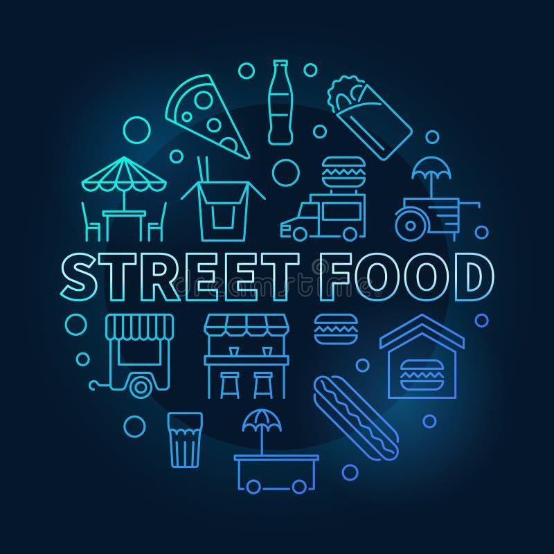Símbolo redondo azul de la comida de la calle Línea ilustración del vector ilustración del vector