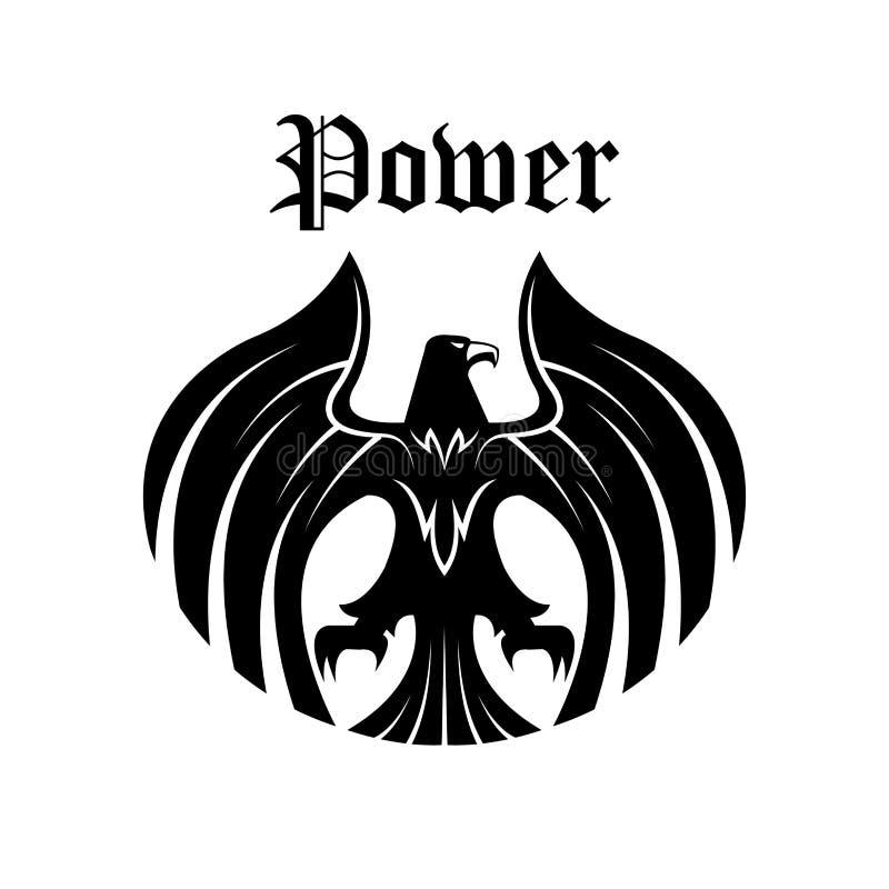Símbolo redondo da águia preta para o projeto heráldico ilustração do vetor