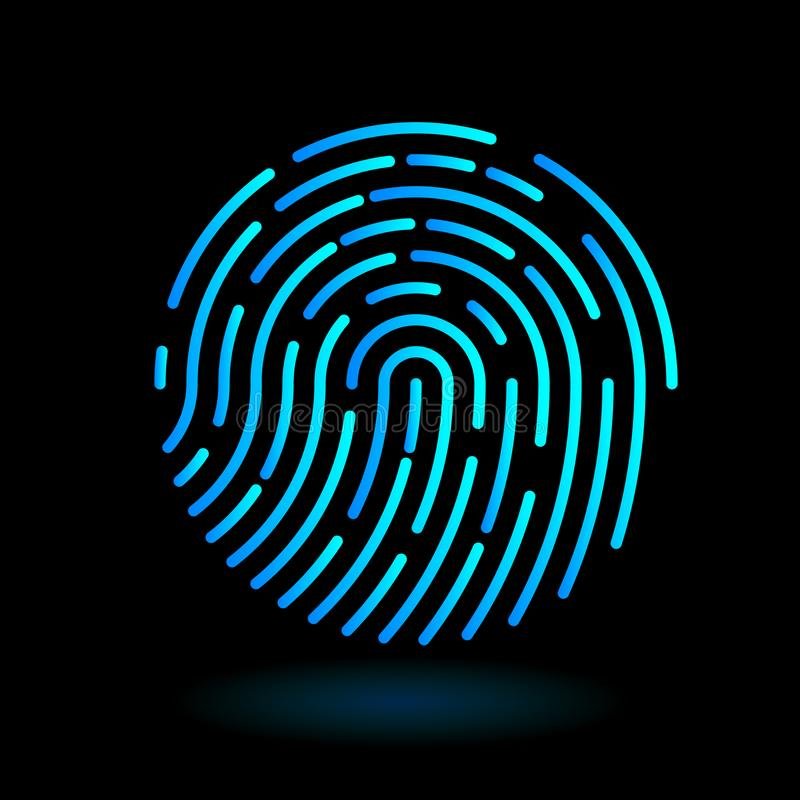 Símbolo redondo de la huella dactilar del icono del vector del finger en la línea diseño del arte en el fondo negro - color ciáni stock de ilustración