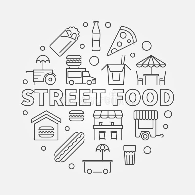Símbolo redondo del concepto de la comida de la calle Línea ilustración del vector stock de ilustración