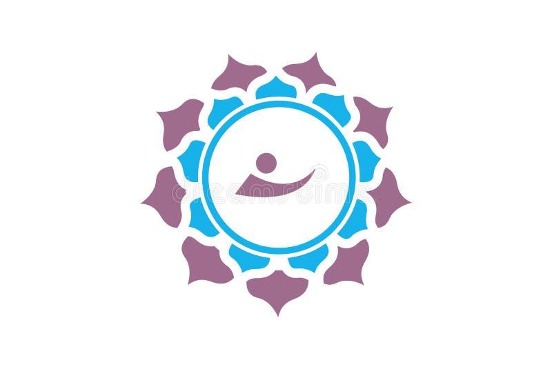 Símbolo religioso da mandala azul roxa ilustração do vetor