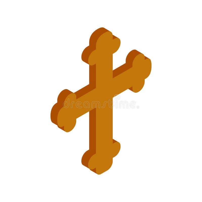 Símbolo religioso do ícone 3d isométrico do crucifixo ilustração do vetor