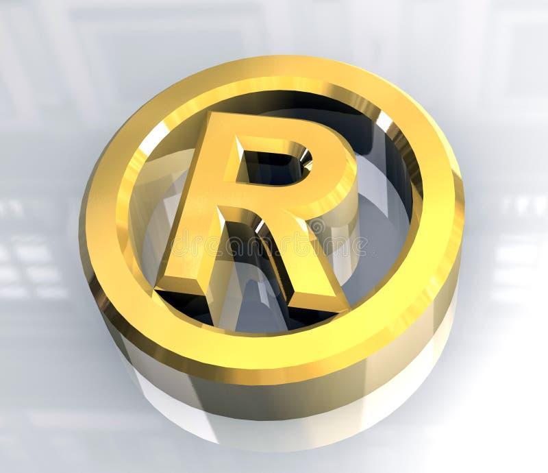 Símbolo reservado correcto en el oro - 3d ilustración del vector