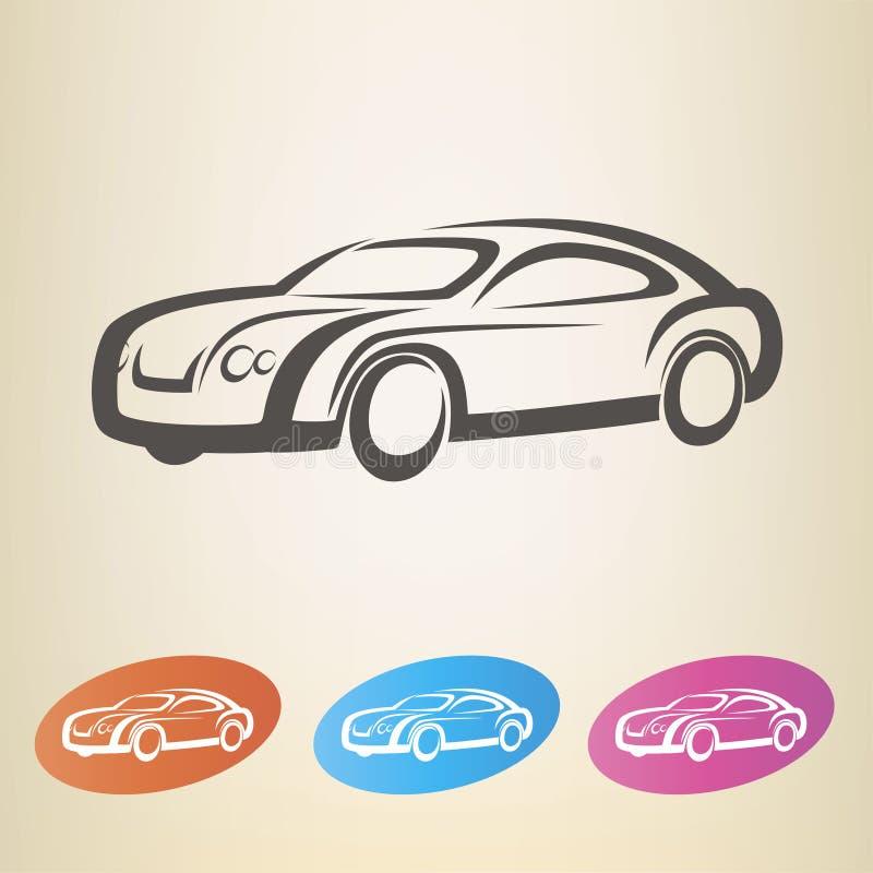 Símbolo resumido coche moderno stock de ilustración