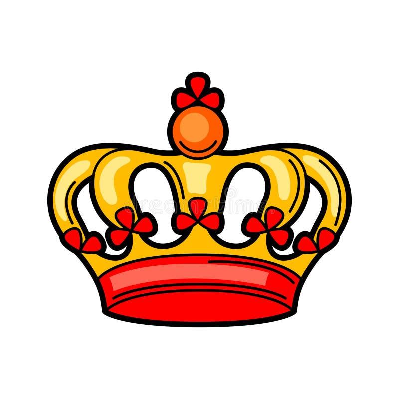 Símbolo retro da tatuagem da coroa Ilustração da velha escola dos desenhos animados ilustração stock