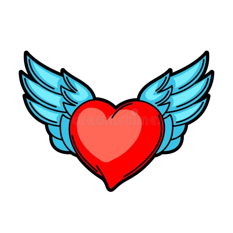 Símbolo retro da tatuagem do coração Ilustração da velha escola dos desenhos animados ilustração do vetor