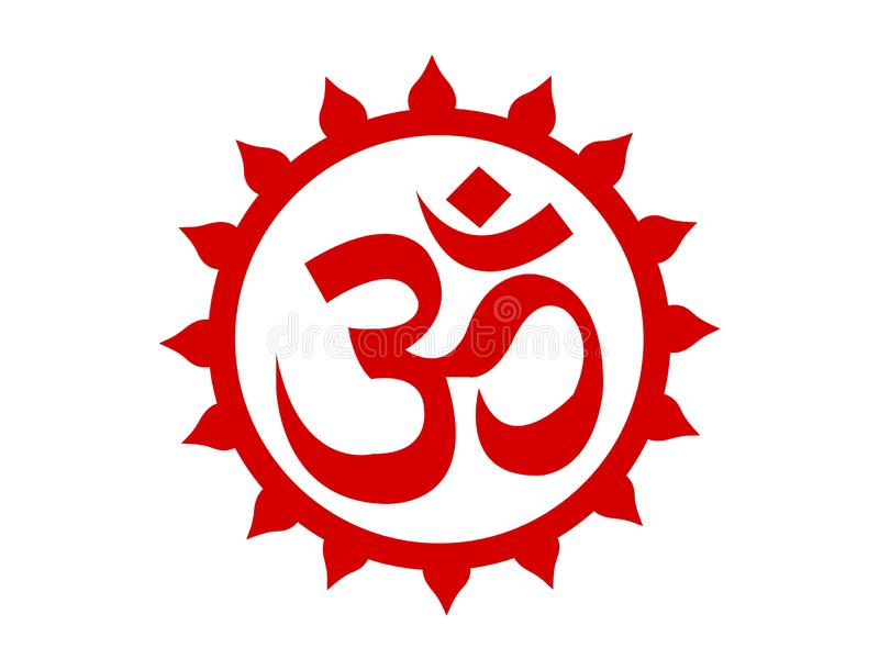 Símbolo rojo de OM en un círculo stock de ilustración