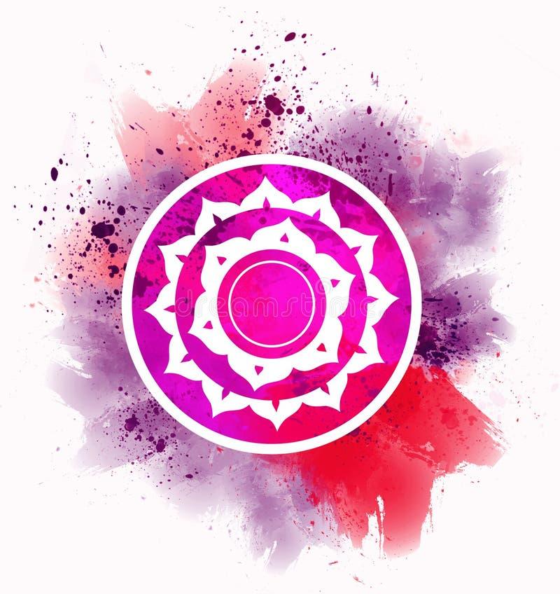 Símbolo rojo del chakra stock de ilustración