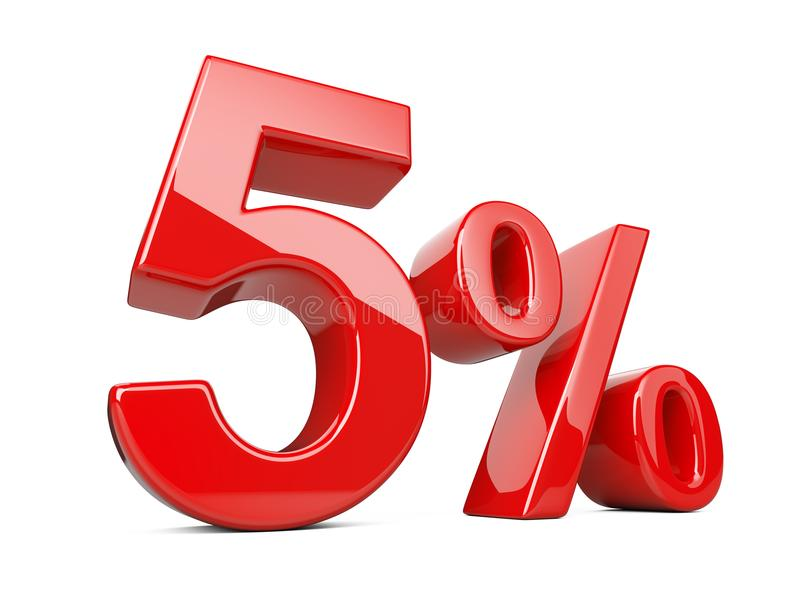 Símbolo rojo del cinco por ciento porcentaje del 5% Disco de la oferta especial ilustración del vector