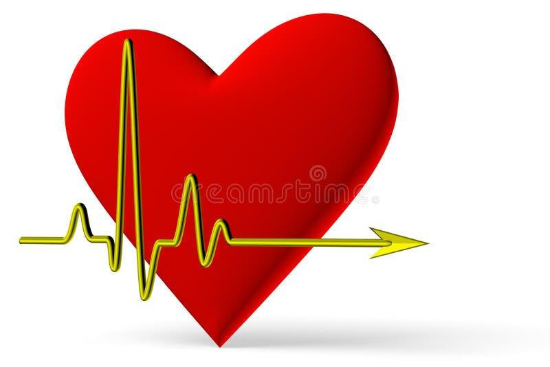 Símbolo rojo del corazón con la línea opinión del pulso de la diagonal ilustración del vector