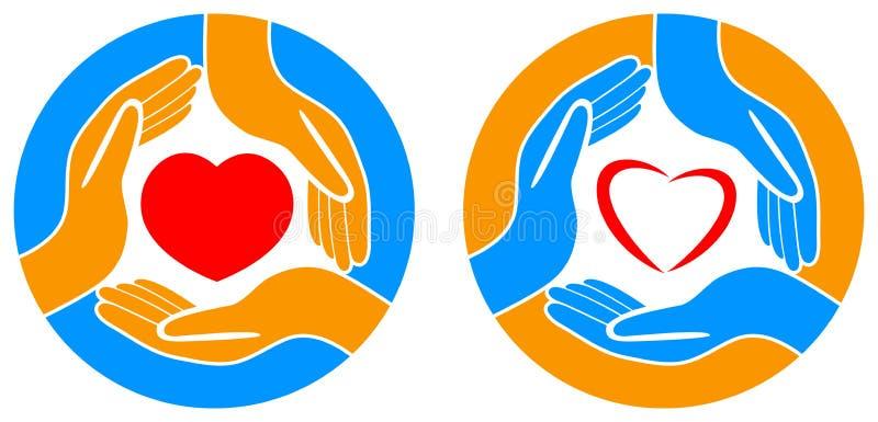 Símbolo rojo del corazón en llevar a cabo las manos ilustración del vector