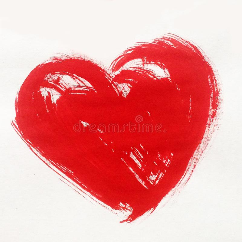 Símbolo rojo del corazón del fondo abstracto de la acuarela del papel pintado hermoso del cepillo del amor de la textura de la ma fotografía de archivo