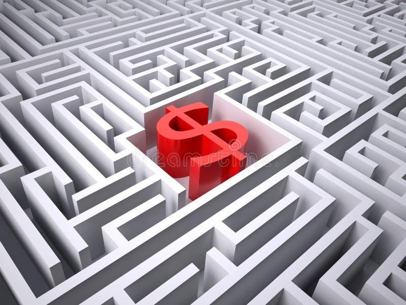 Símbolo rojo del dólar en el centro del laberinto libre illustration