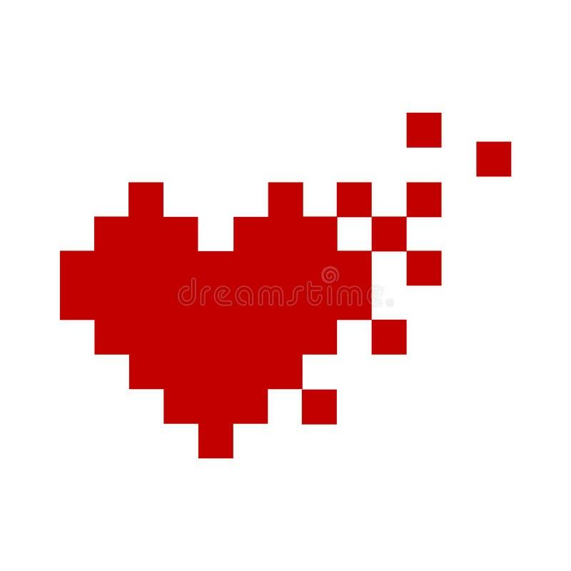 Símbolo rojo del ejemplo del vector del minimalismo del icono del corazón del pixel ilustración del vector