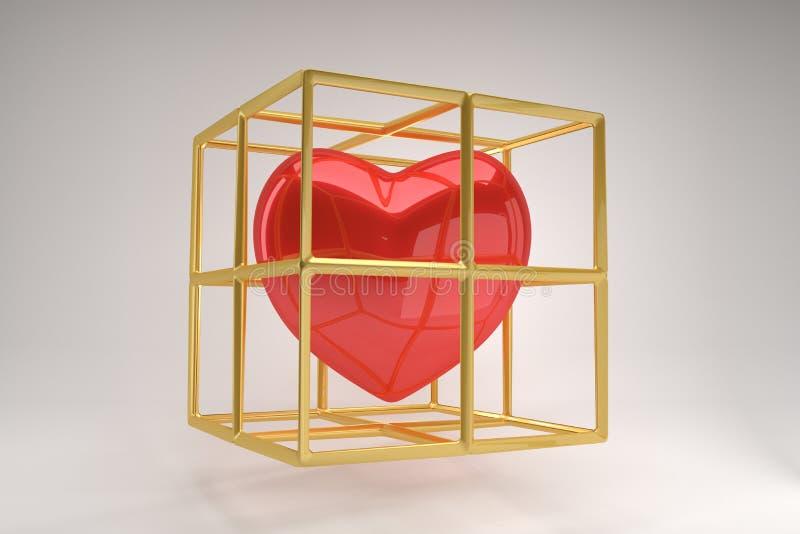 Símbolo rojo en una jaula de oro en un fondo gris, concepto moderno del corazón del amor stock de ilustración