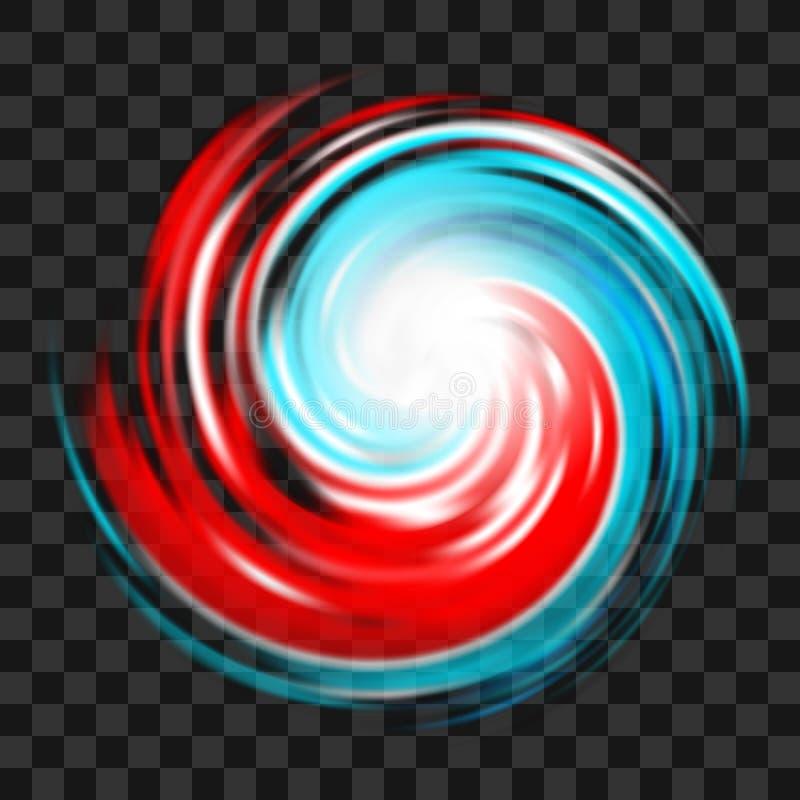 Símbolo rojo y azul del huracán en fondo transparente oscuro stock de ilustración