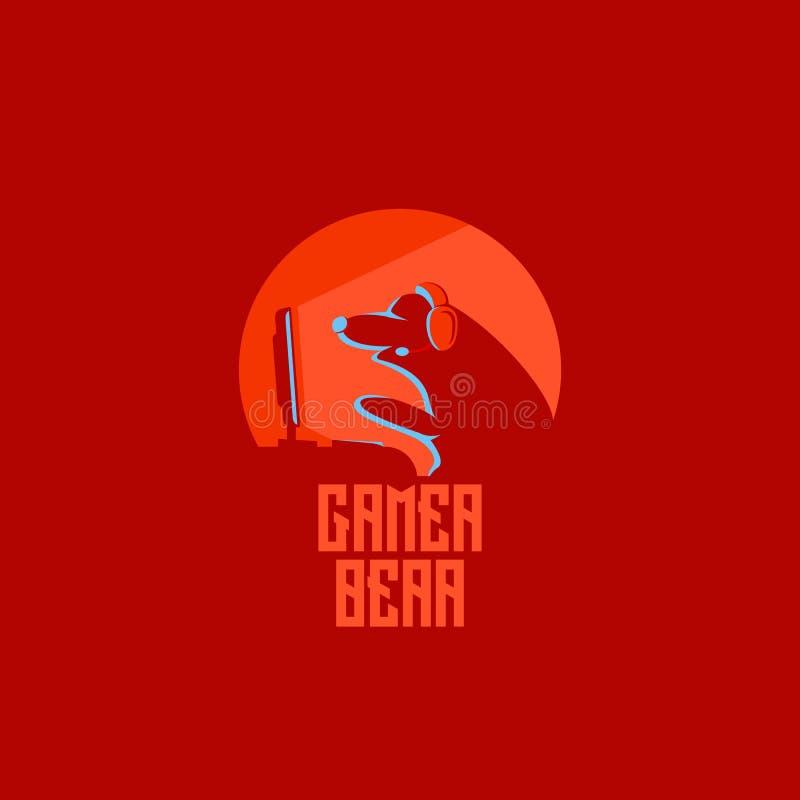 Símbolo rouded crachá da ilustração da silhueta do emblema do ícone do logotipo de Esport do urso do Gamer ilustração do vetor