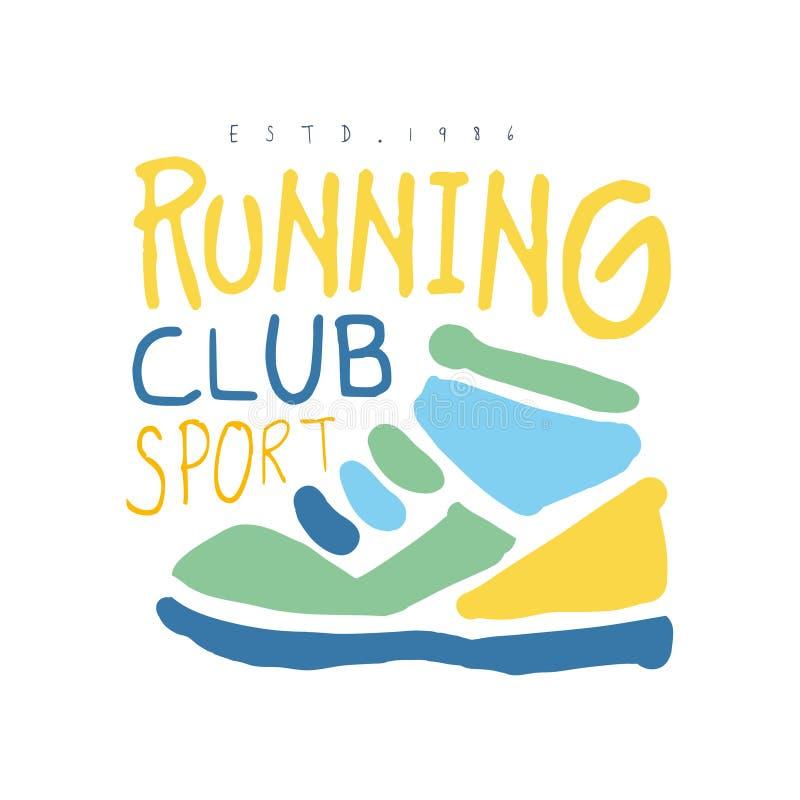 Símbolo running do logotipo do cport do clube Mão colorida ilustração tirada ilustração stock