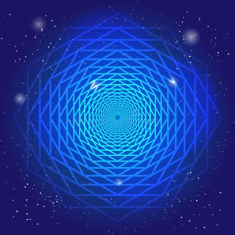 Símbolo sacral no espaço, no céu azul profundo com estrelas Arte moderna espiritual do projeto?, fundo, grunge A passagem do temp ilustração stock
