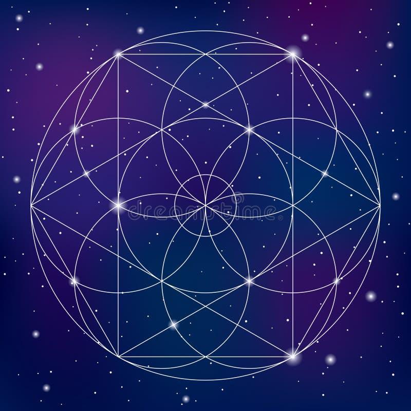 Símbolo sagrado da geometria no fundo do espaço ilustração do vetor