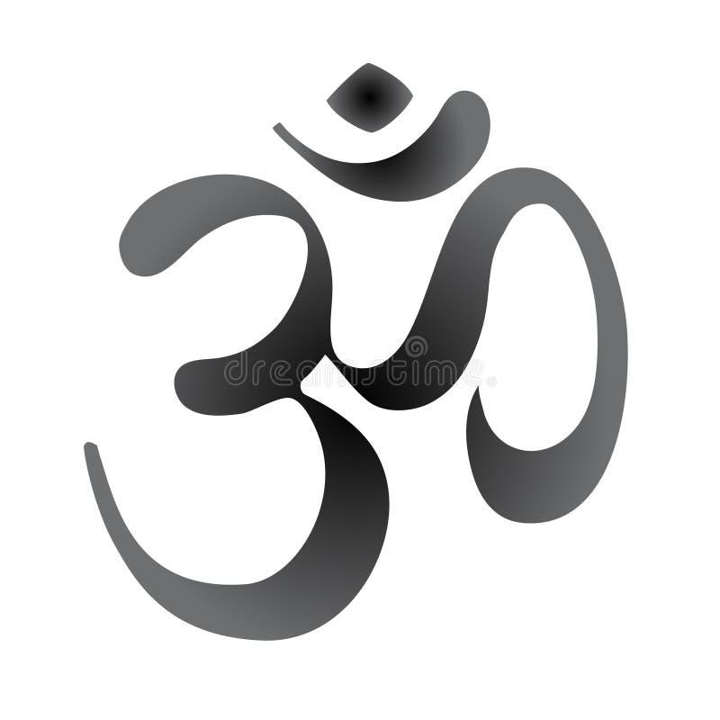 Símbolo sagrado de Diwali OM Elementos decorativos del estilo del vintage Fondo dibujado mano Diseño indio, grande para el tatuaj stock de ilustración