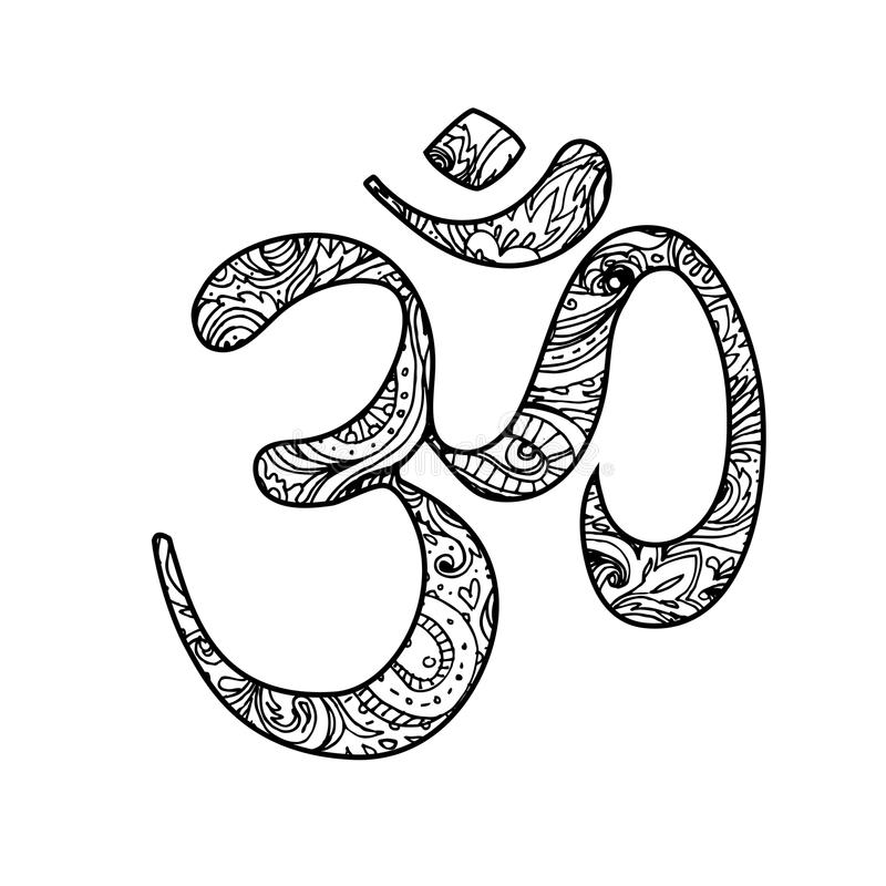 Símbolo sagrado de Diwali OM Elementos decorativos ornamentado do vetor Mão ilustração royalty free