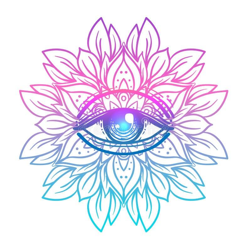Símbolo sagrado de la geometría con todo el ojo que ve en colores ácidos Mysti ilustración del vector