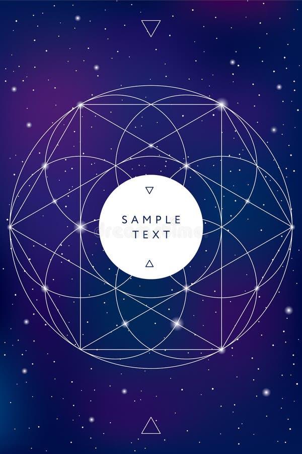 Símbolo sagrado de la geometría en fondo del espacio ilustración del vector