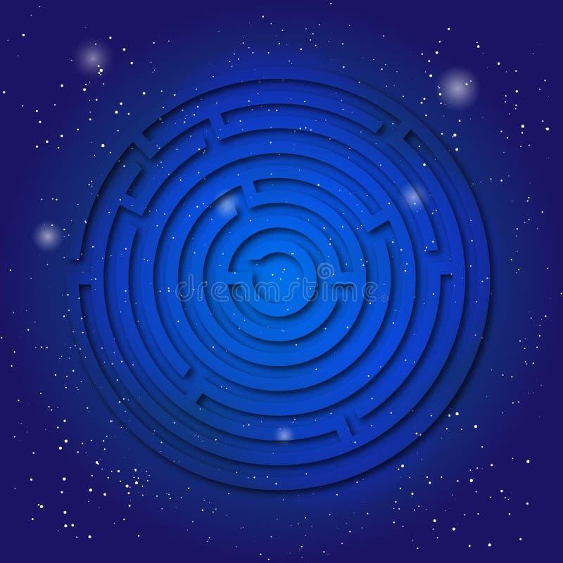 Símbolo sagrado del espiritual del laberinto en el cielo cósmico azul profundo Geometría sacra en universo ilustración del vector