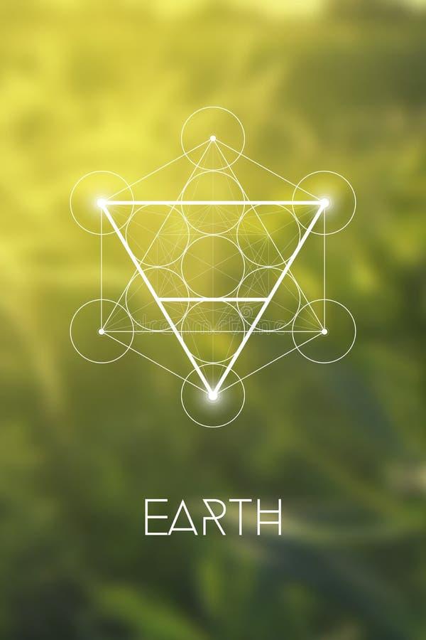 Símbolo sagrado do elemento da terra da geometria dentro do cubo de Metatron e da flor da vida na frente do fundo obscuro natural ilustração royalty free